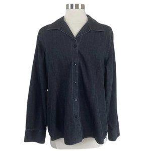 CHICO'S No-Iron 100% cotton Black Denim ButtonDown
